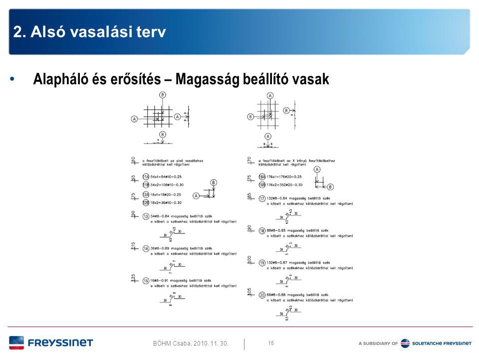 BÖHM Csaba, 2010. 11. 30. 15 2. Alsó vasalási terv • Alapháló és erősítés – Magasság beállító vasak