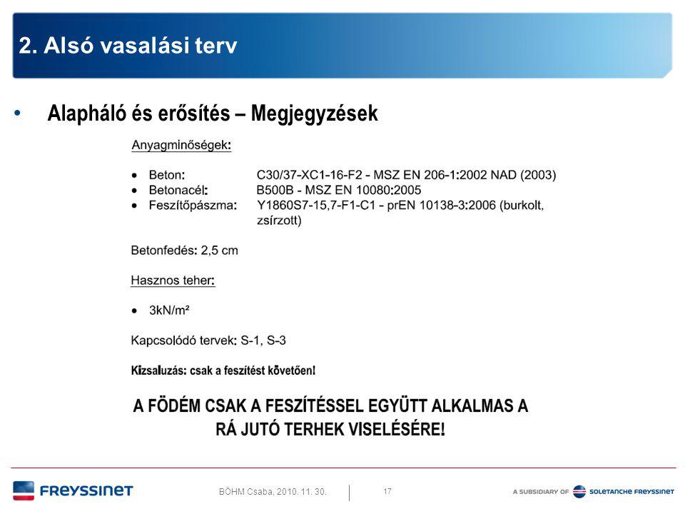 BÖHM Csaba, 2010. 11. 30. 17 2. Alsó vasalási terv • Alapháló és erősítés – Megjegyzések
