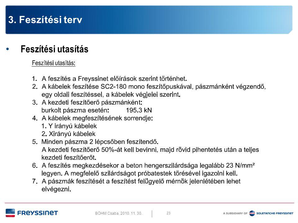 BÖHM Csaba, 2010. 11. 30. 23 3. Feszítési terv • Feszítési utasítás