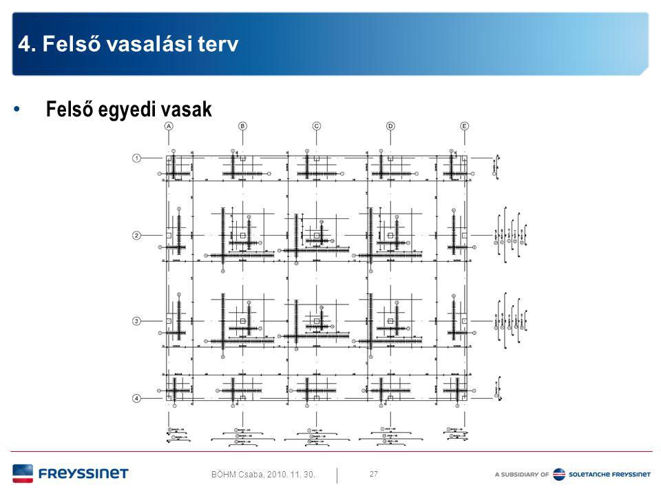 BÖHM Csaba, 2010. 11. 30. 27 4. Felső vasalási terv • Felső egyedi vasak