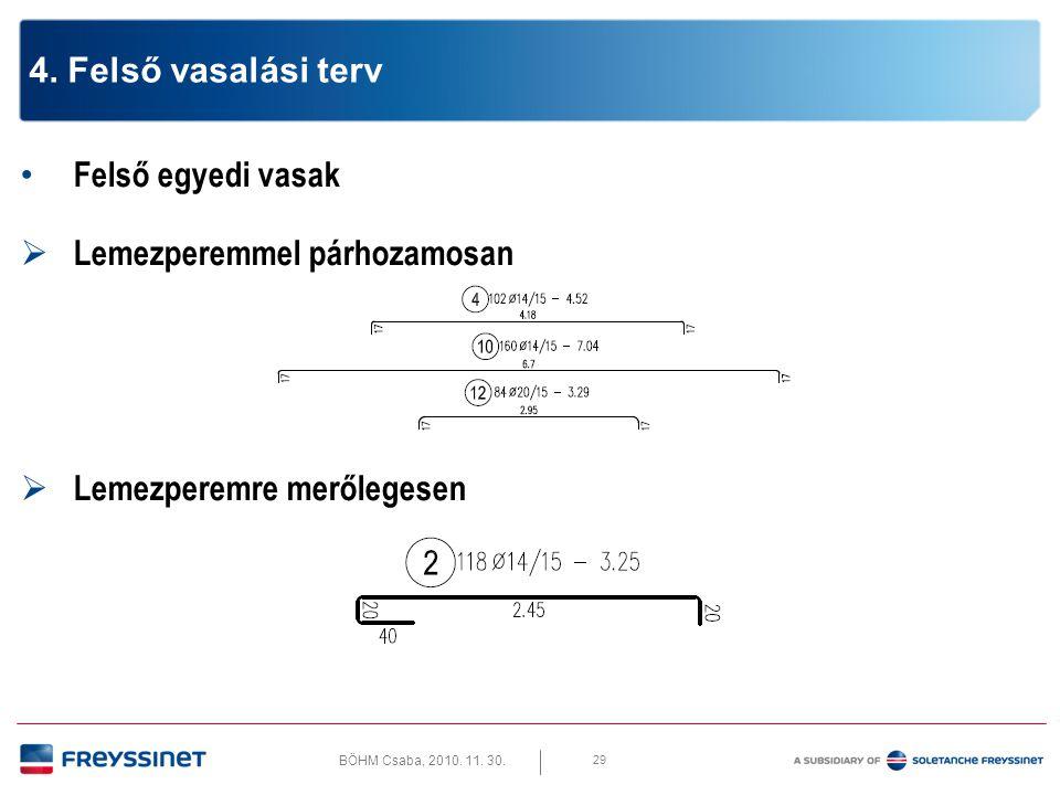 BÖHM Csaba, 2010. 11. 30. 29 4. Felső vasalási terv • Felső egyedi vasak  Lemezperemmel párhozamosan  Lemezperemre merőlegesen