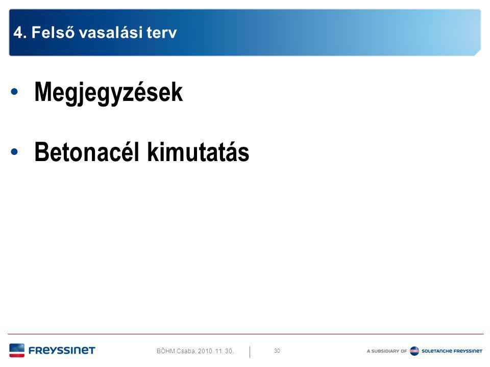 BÖHM Csaba, 2010. 11. 30. 30 4. Felső vasalási terv • Megjegyzések • Betonacél kimutatás