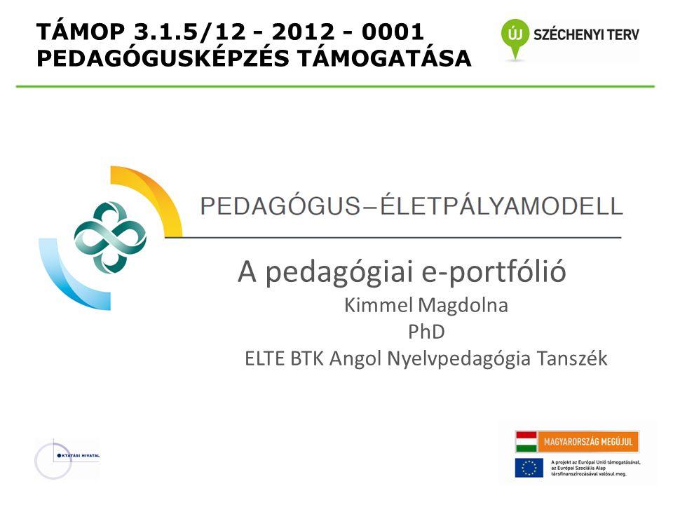 TÁMOP 3.1.5/12 - 2012 - 0001 PEDAGÓGUSKÉPZÉS TÁMOGATÁSA A pedagógiai e-portfólió Kimmel Magdolna PhD ELTE BTK Angol Nyelvpedagógia Tanszék