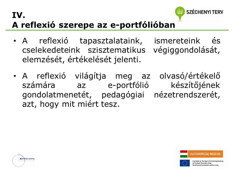 IV. A reflexió szerepe az e-portfólióban • A reflexió tapasztalataink, ismereteink és cselekedeteink szisztematikus végiggondolását, elemzését, értéke