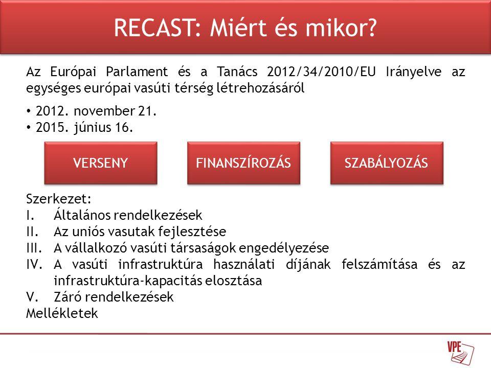Az Európai Parlament és a Tanács 2012/34/2010/EU Irányelve az egységes európai vasúti térség létrehozásáról • 2012.