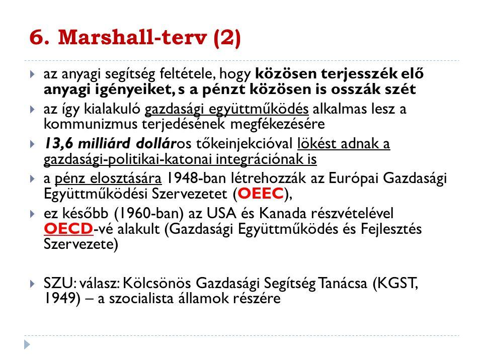 6. Marshall-terv (2)  az anyagi segítség feltétele, hogy közösen terjesszék elő anyagi igényeiket, s a pénzt közösen is osszák szét  az így kialakul