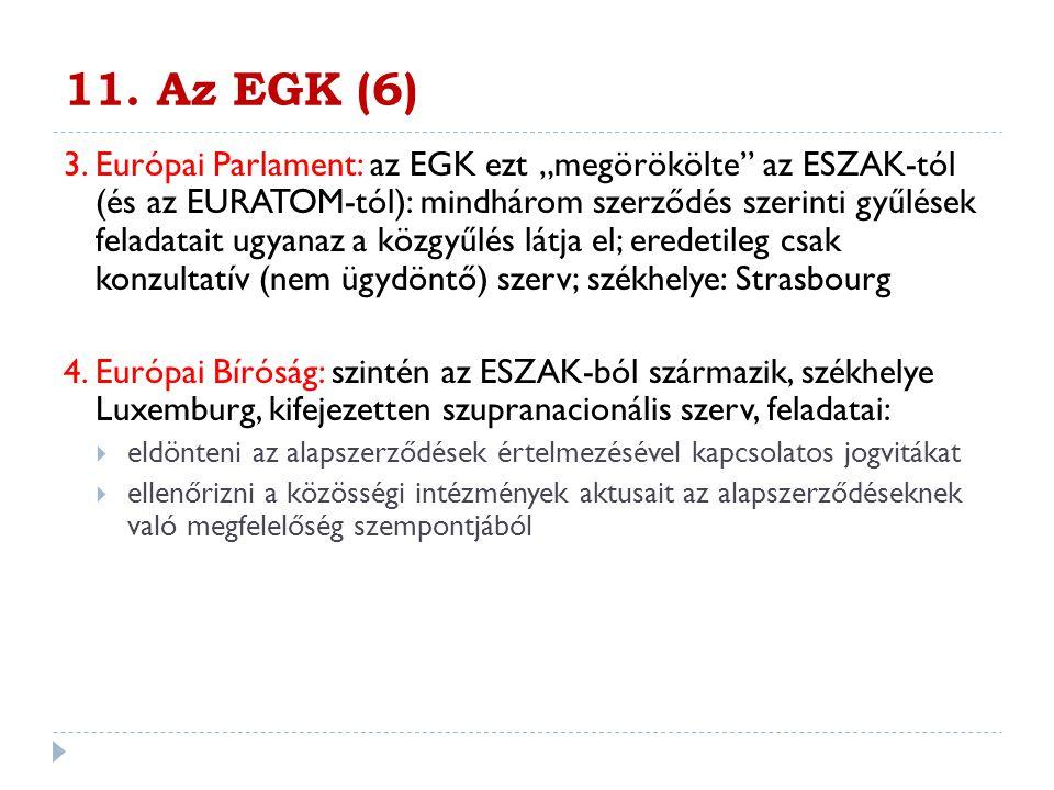 """11. Az EGK (6) 3. Európai Parlament: az EGK ezt """"megörökölte"""" az ESZAK-tól (és az EURATOM-tól): mindhárom szerződés szerinti gyűlések feladatait ugyan"""