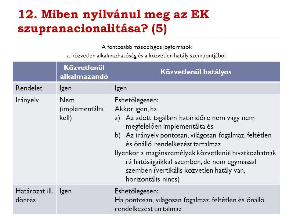 12. Miben nyilvánul meg az EK szupranacionalitása? (5) A fontosabb másodlagos jogforrások a közvetlen alkalmazhatóság és a közvetlen hatály szempontjá