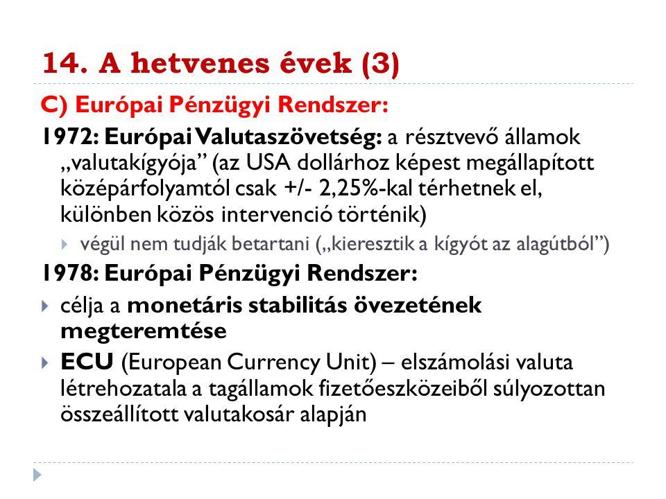 """14. A hetvenes évek (3) C) Európai Pénzügyi Rendszer: 1972: Európai Valutaszövetség: a résztvevő államok """"valutakígyója"""" (az USA dollárhoz képest megá"""