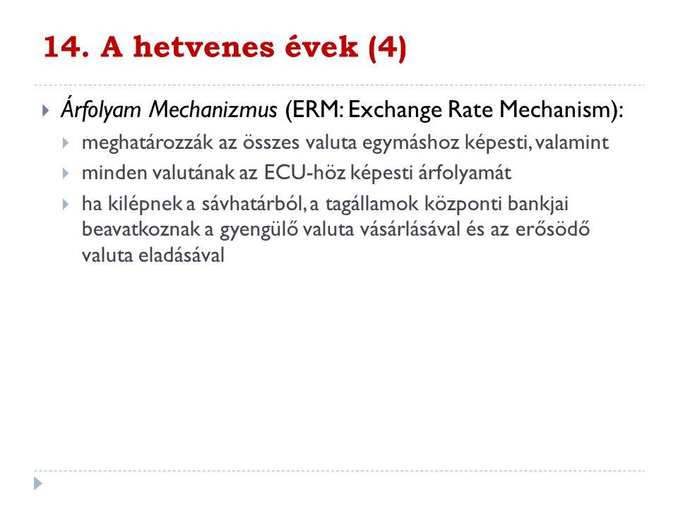 14. A hetvenes évek (4)  Árfolyam Mechanizmus (ERM: Exchange Rate Mechanism):  meghatározzák az összes valuta egymáshoz képesti, valamint  minden v
