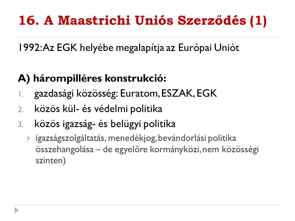 16. A Maastrichi Uniós Szerződés (1) 1992: Az EGK helyébe megalapítja az Európai Uniót A) hárompilléres konstrukció: 1. gazdasági közösség: Euratom, E