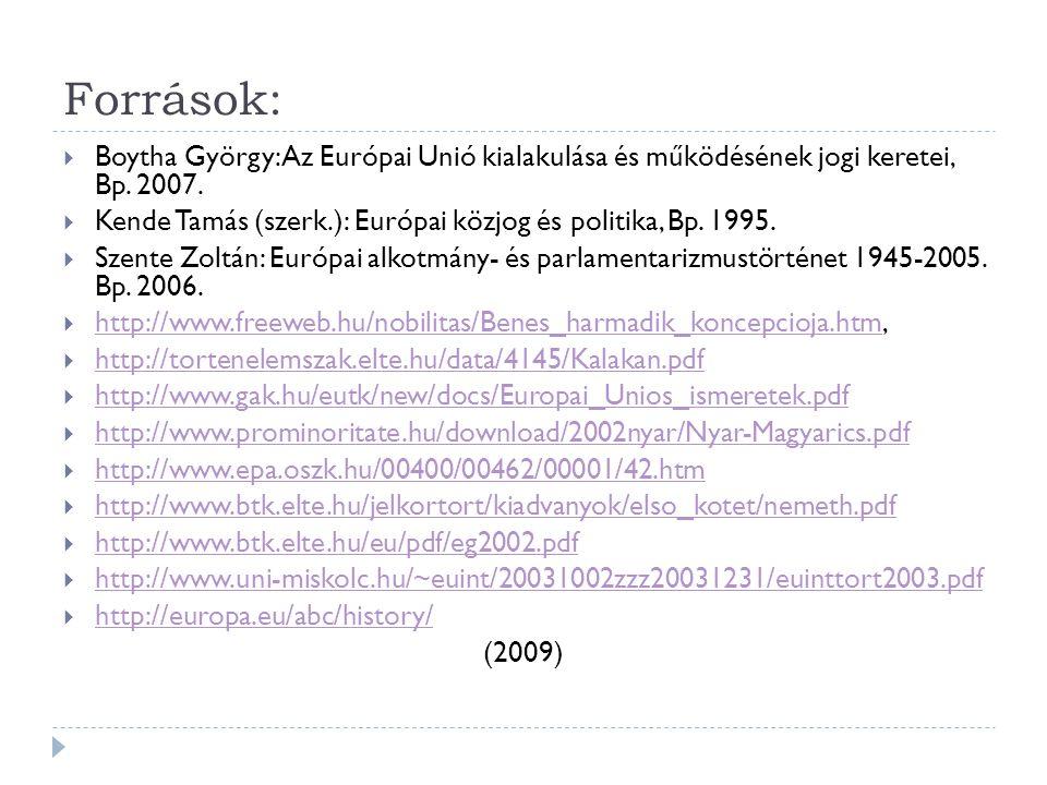 Források:  Boytha György: Az Európai Unió kialakulása és működésének jogi keretei, Bp. 2007.  Kende Tamás (szerk.): Európai közjog és politika, Bp.