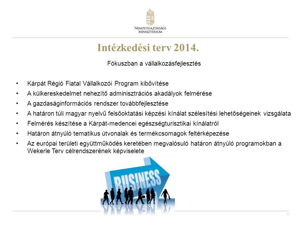 7 Fókuszban a vállalkozásfejlesztés •Kárpát Régió Fiatal Vállalkozói Program kibővítése •A külkereskedelmet nehezítő adminisztrációs akadályok felméré