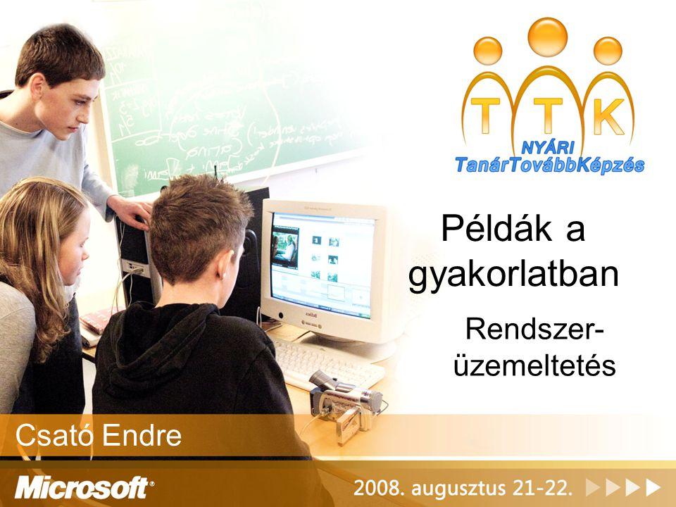 Előkészítés (2) •Kiszolgálói környezet elkészítése –Windows Server 2003 migráció –Active Directory migráció és újrastrukturálás, jogosultság tervezés –Systems Management Server 2003 bevezetés –Magas rendelkezésre állás kialakítása –Mentési stratégia elkészítése
