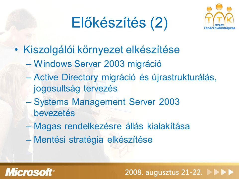 Előkészítés (2) •Kiszolgálói környezet elkészítése –Windows Server 2003 migráció –Active Directory migráció és újrastrukturálás, jogosultság tervezés