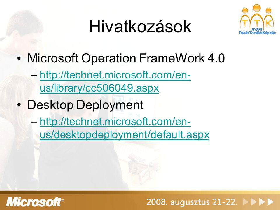 Hivatkozások •Microsoft Operation FrameWork 4.0 –http://technet.microsoft.com/en- us/library/cc506049.aspxhttp://technet.microsoft.com/en- us/library/