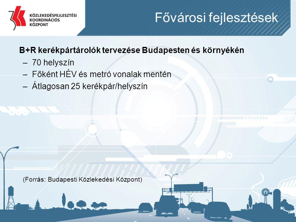 Fővárosi fejlesztések B+R kerékpártárolók tervezése Budapesten és környékén –70 helyszín –Főként HÉV és metró vonalak mentén –Átlagosan 25 kerékpár/he