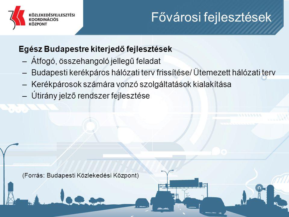 Fővárosi fejlesztések Egész Budapestre kiterjedő fejlesztések –Átfogó, összehangoló jellegű feladat –Budapesti kerékpáros hálózati terv frissítése/ Üt