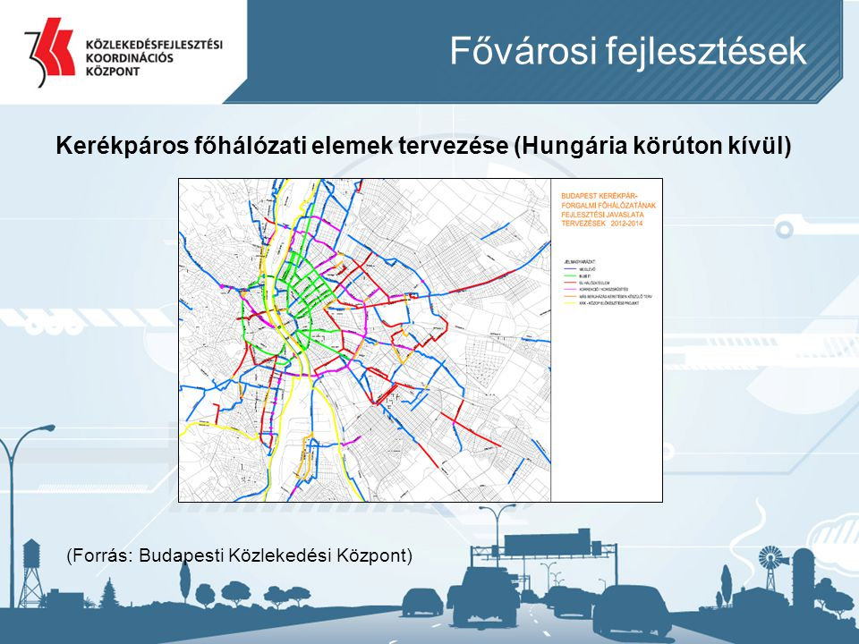 Fővárosi fejlesztések Kerékpáros főhálózati elemek tervezése (Hungária körúton kívül) (Forrás: Budapesti Közlekedési Központ)