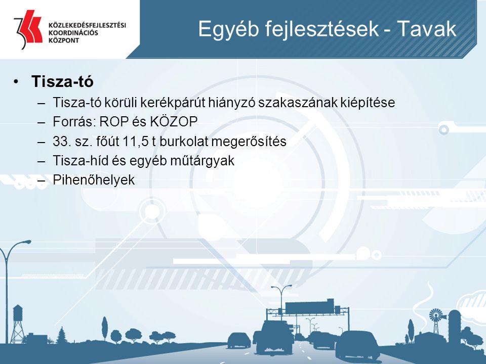 Egyéb fejlesztések - Tavak •Tisza-tó –Tisza-tó körüli kerékpárút hiányzó szakaszának kiépítése –Forrás: ROP és KÖZOP –33. sz. főút 11,5 t burkolat meg