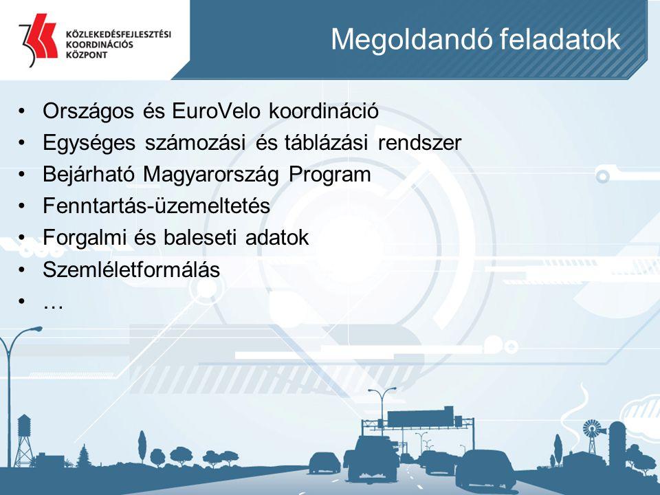 Megoldandó feladatok •Országos és EuroVelo koordináció •Egységes számozási és táblázási rendszer •Bejárható Magyarország Program •Fenntartás-üzemeltet