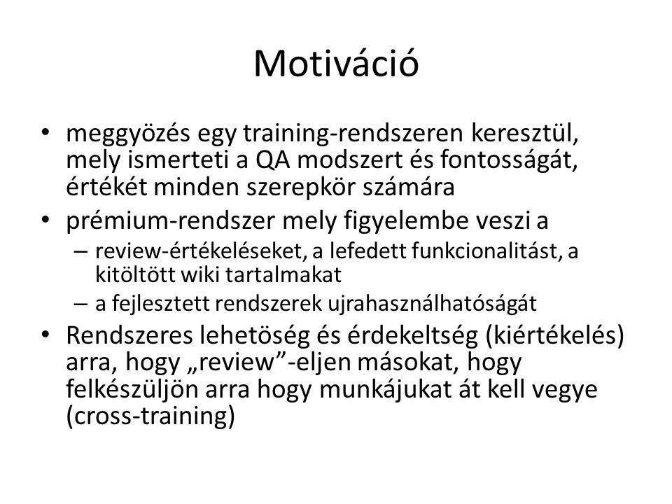 Motiváció • meggyözés egy training-rendszeren keresztül, mely ismerteti a QA modszert és fontosságát, értékét minden szerepkör számára • prémium-rends
