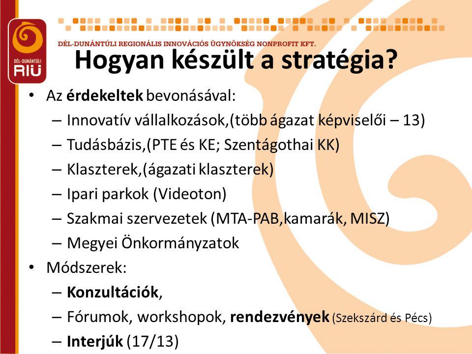 Hogyan készült a stratégia? • Az érdekeltek bevonásával: – Innovatív vállalkozások,(több ágazat képviselői – 13) – Tudásbázis,(PTE és KE; Szentágothai