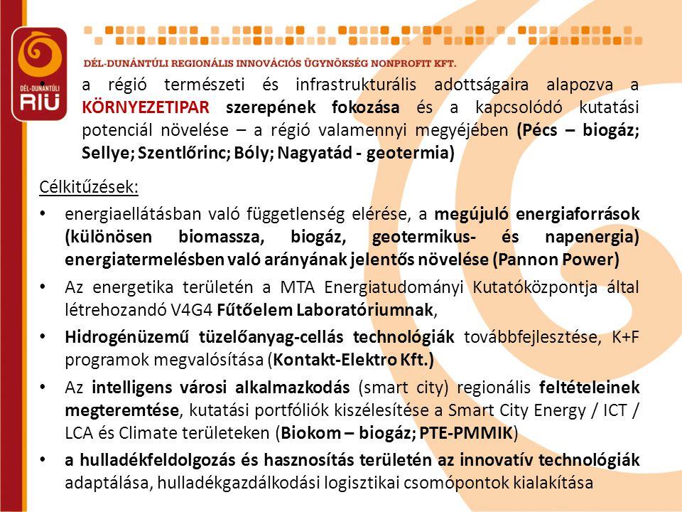 • a régió természeti és infrastrukturális adottságaira alapozva a KÖRNYEZETIPAR szerepének fokozása és a kapcsolódó kutatási potenciál növelése – a ré