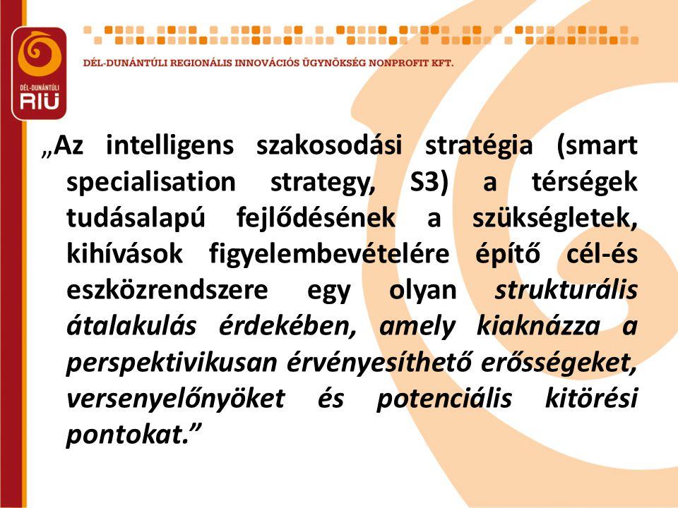 """""""Az intelligens szakosodási stratégia (smart specialisation strategy, S3) a térségek tudásalapú fejlődésének a szükségletek, kihívások figyelembevételére építő cél-és eszközrendszere egy olyan strukturális átalakulás érdekében, amely kiaknázza a perspektivikusan érvényesíthető erősségeket, versenyelőnyöket és potenciális kitörési pontokat."""