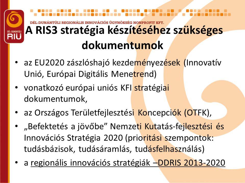 """A RIS3 stratégia készítéséhez szükséges dokumentumok • az EU2020 zászlóshajó kezdeményezések (Innovatív Unió, Európai Digitális Menetrend) • vonatkozó európai uniós KFI stratégiai dokumentumok, • az Országos Területfejlesztési Koncepciók (OTFK), • """"Befektetés a jövőbe Nemzeti Kutatás-fejlesztési és Innovációs Stratégia 2020 (prioritási szempontok: tudásbázisok, tudásáramlás, tudásfelhasználás) • a regionális innovációs stratégiák –DDRIS 2013-2020"""