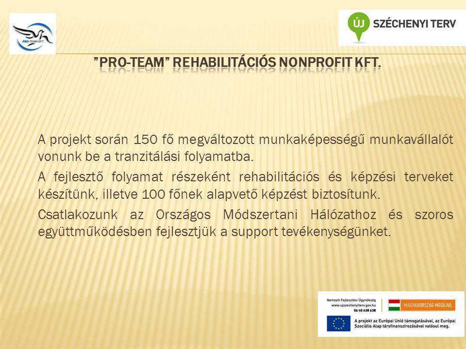 A projekt során 150 fő megváltozott munkaképességű munkavállalót vonunk be a tranzitálási folyamatba.