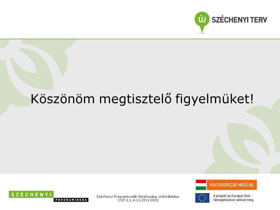 Széchenyi Programirodák létrehozása, működtetése VOP-2.1.4-11-2011-0001 Köszönöm megtisztelő figyelmüket!