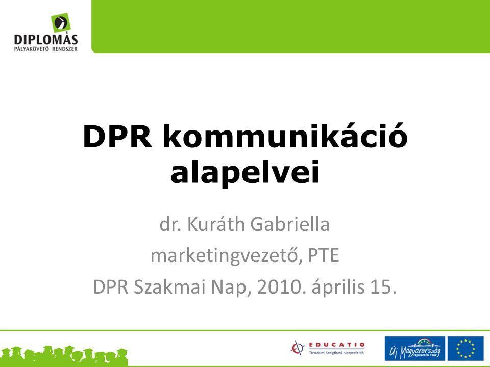 DPR kommunikáció alapelvei dr. Kuráth Gabriella marketingvezető, PTE DPR Szakmai Nap, 2010. április 15.