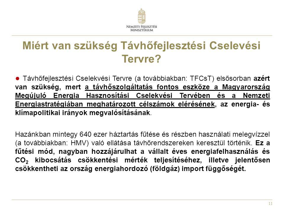 11 ● Távhőfejlesztési Cselekvési Tervre (a továbbiakban: TFCsT) elsősorban azért van szükség, mert a távhőszolgáltatás fontos eszköze a Magyarország M