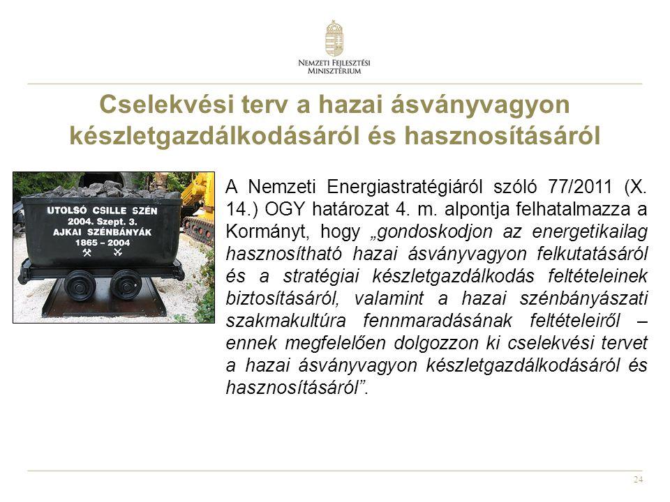 24 Cselekvési terv a hazai ásványvagyon készletgazdálkodásáról és hasznosításáról A Nemzeti Energiastratégiáról szóló 77/2011 (X. 14.) OGY határozat 4