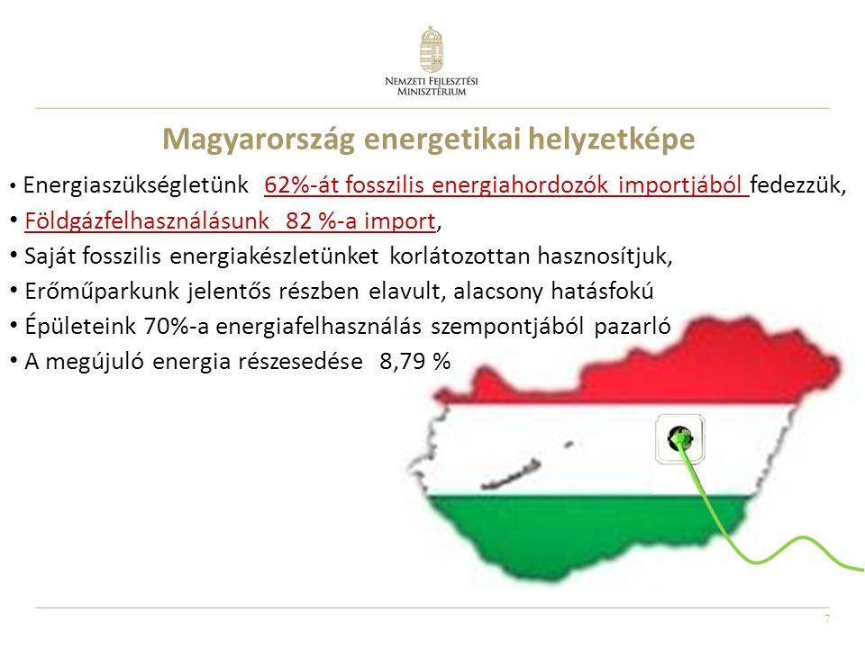 7 Magyarország energetikai helyzetképe • Energiaszükségletünk 62%-át fosszilis energiahordozók importjából fedezzük, • Földgázfelhasználásunk 82 %-a i