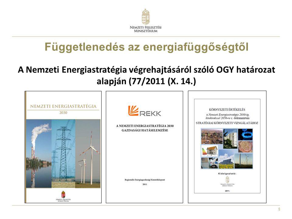 8 A Nemzeti Energiastratégia végrehajtásáról szóló OGY határozat alapján (77/2011 (X. 14.) Függetlenedés az energiafüggőségtől