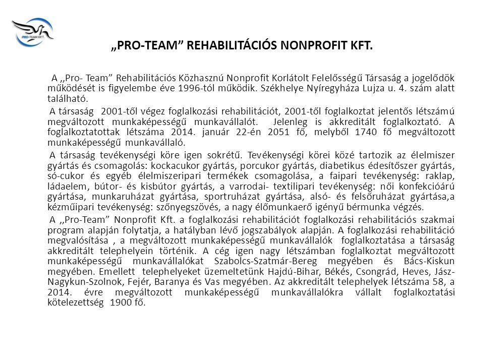 ,,PRO-TEAM REHABILITÁCIÓS NONPROFIT KFT.