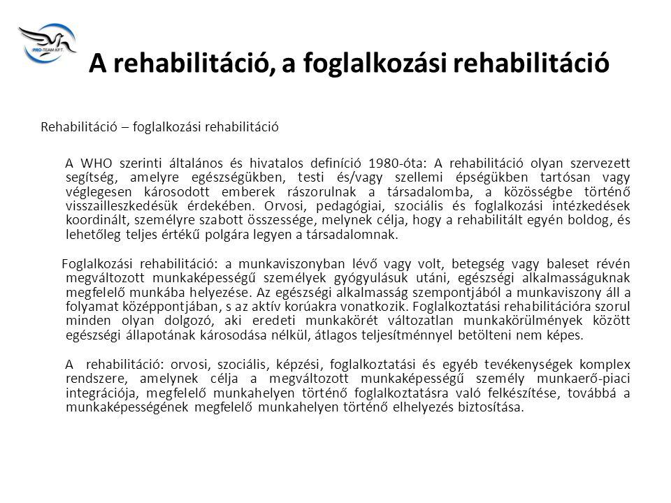 A rehabilitáció, a foglalkozási rehabilitáció Rehabilitáció – foglalkozási rehabilitáció A WHO szerinti általános és hivatalos definíció 1980-óta: A rehabilitáció olyan szervezett segítség, amelyre egészségükben, testi és/vagy szellemi épségükben tartósan vagy véglegesen károsodott emberek rászorulnak a társadalomba, a közösségbe történő visszailleszkedésük érdekében.