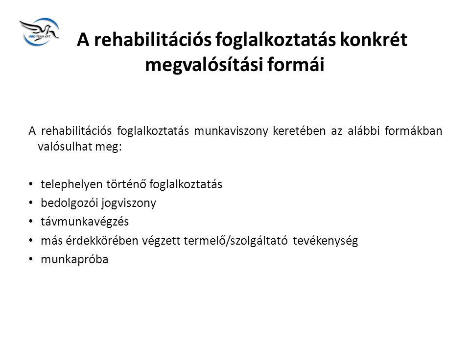 A rehabilitációs foglalkoztatás konkrét megvalósítási formái A rehabilitációs foglalkoztatás munkaviszony keretében az alábbi formákban valósulhat meg: • telephelyen történő foglalkoztatás • bedolgozói jogviszony • távmunkavégzés • más érdekkörében végzett termelő/szolgáltató tevékenység • munkapróba