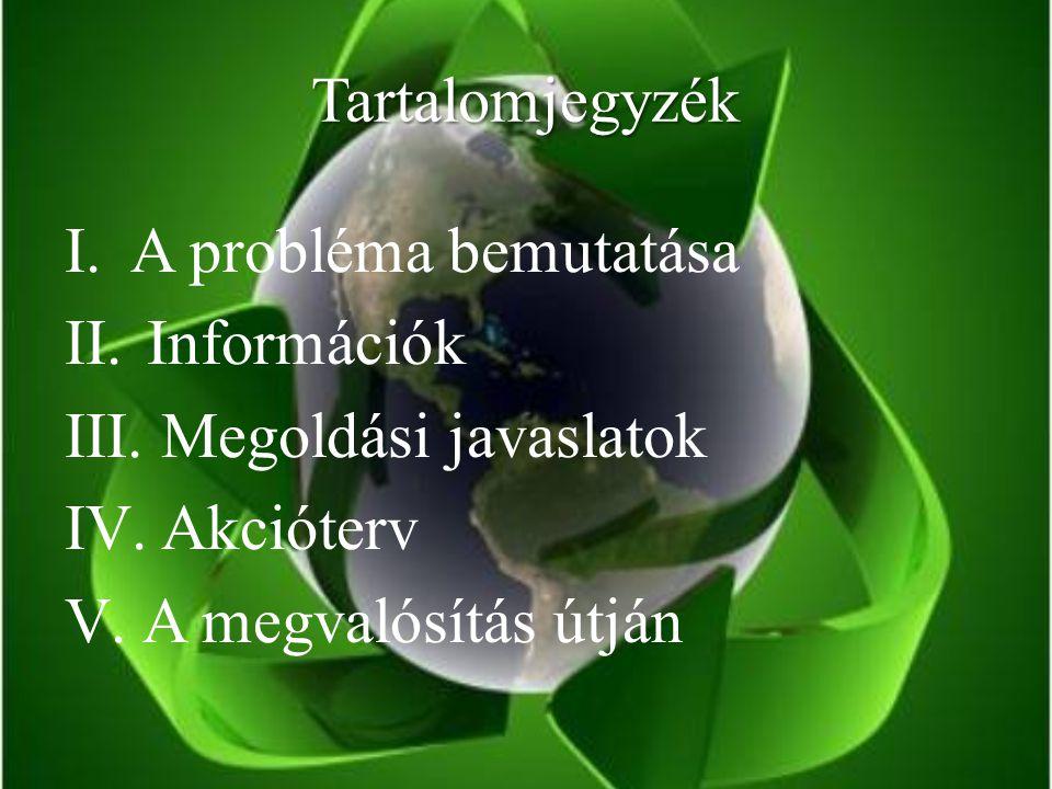 Tartalomjegyzék I.A probléma bemutatása II. Információk III.