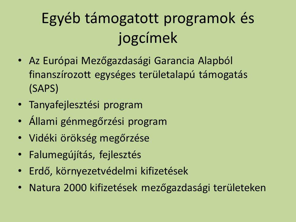 Egyéb támogatott programok és jogcímek • Az Európai Mezőgazdasági Garancia Alapból finanszírozott egységes területalapú támogatás (SAPS) • Tanyafejlesztési program • Állami génmegőrzési program • Vidéki örökség megőrzése • Falumegújítás, fejlesztés • Erdő, környezetvédelmi kifizetések • Natura 2000 kifizetések mezőgazdasági területeken
