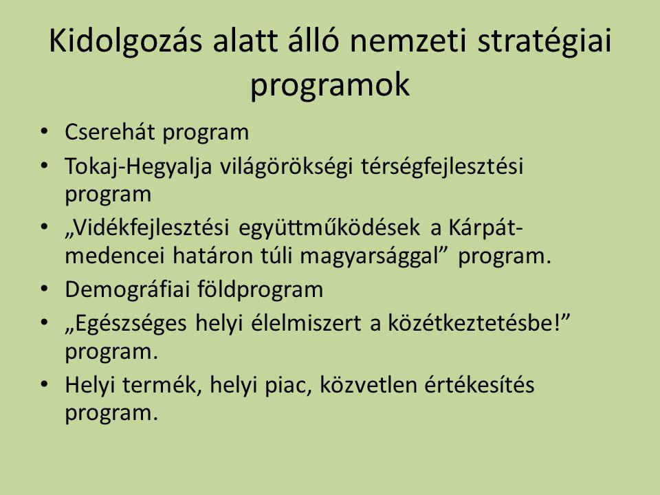 """Kidolgozás alatt álló nemzeti stratégiai programok • Cserehát program • Tokaj-Hegyalja világörökségi térségfejlesztési program • """"Vidékfejlesztési együttműködések a Kárpát- medencei határon túli magyarsággal program."""