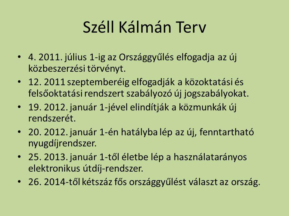 Széll Kálmán Terv • 4. 2011. július 1-ig az Országgyűlés elfogadja az új közbeszerzési törvényt.