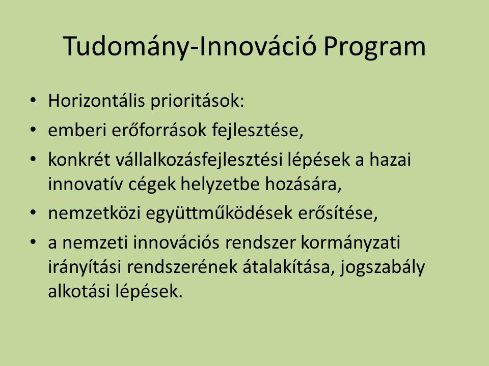 Tudomány-Innováció Program • Horizontális prioritások: • emberi erőforrások fejlesztése, • konkrét vállalkozásfejlesztési lépések a hazai innovatív cégek helyzetbe hozására, • nemzetközi együttműködések erősítése, • a nemzeti innovációs rendszer kormányzati irányítási rendszerének átalakítása, jogszabály alkotási lépések.