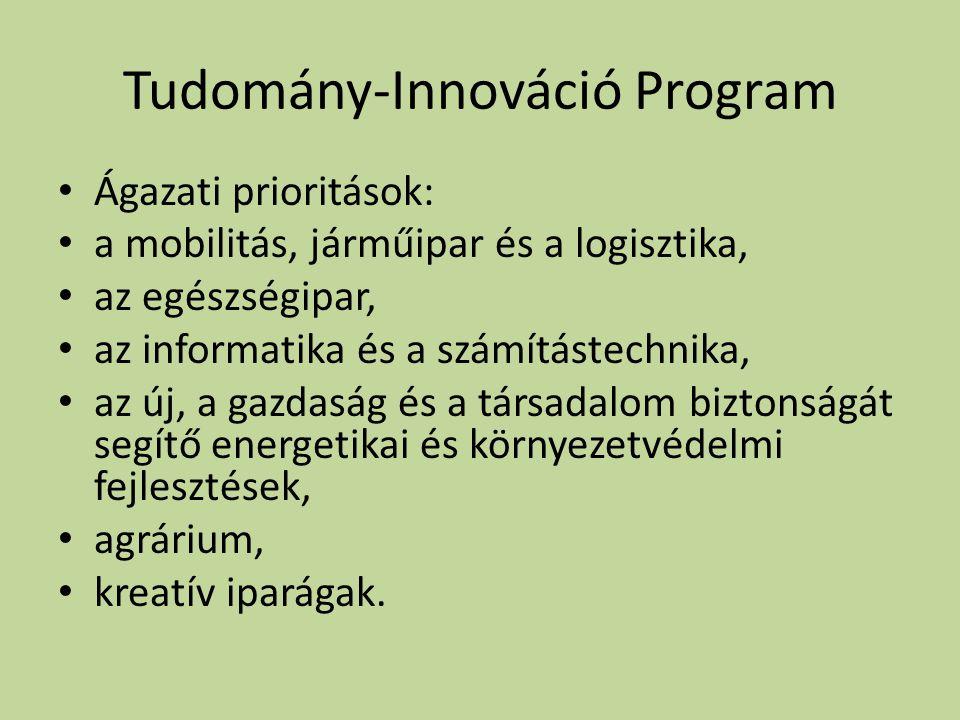 Tudomány-Innováció Program • Ágazati prioritások: • a mobilitás, járműipar és a logisztika, • az egészségipar, • az informatika és a számítástechnika, • az új, a gazdaság és a társadalom biztonságát segítő energetikai és környezetvédelmi fejlesztések, • agrárium, • kreatív iparágak.