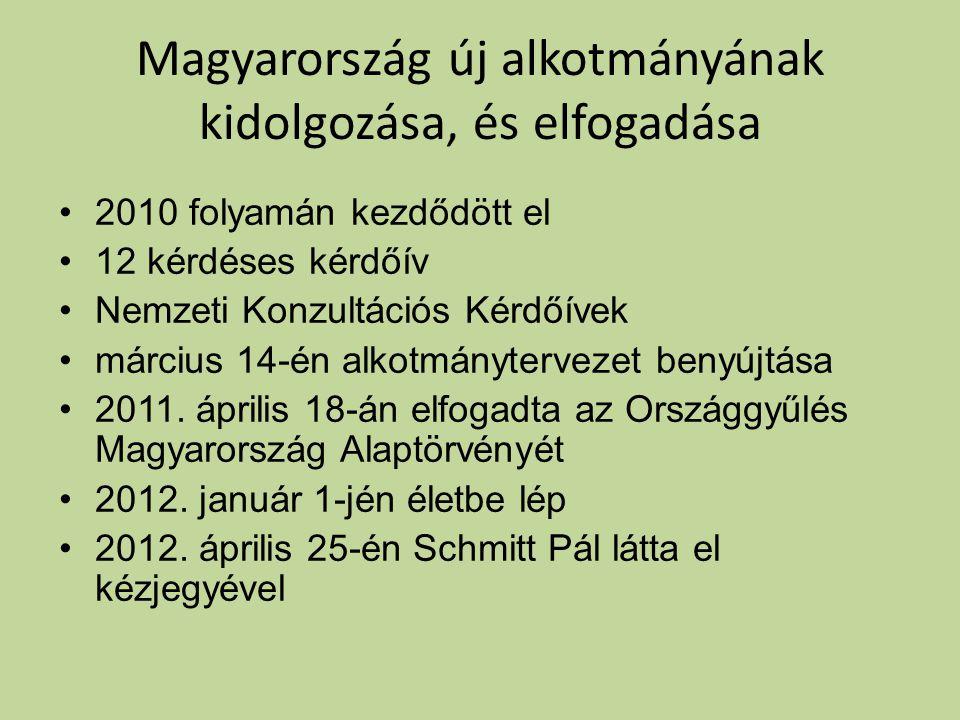 Magyarország új alkotmányának kidolgozása, és elfogadása •2010 folyamán kezdődött el •12 kérdéses kérdőív •Nemzeti Konzultációs Kérdőívek •március 14-én alkotmánytervezet benyújtása •2011.