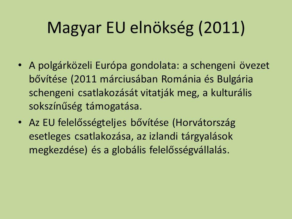 Magyar EU elnökség (2011) • A polgárközeli Európa gondolata: a schengeni övezet bővítése (2011 márciusában Románia és Bulgária schengeni csatlakozását vitatják meg, a kulturális sokszínűség támogatása.