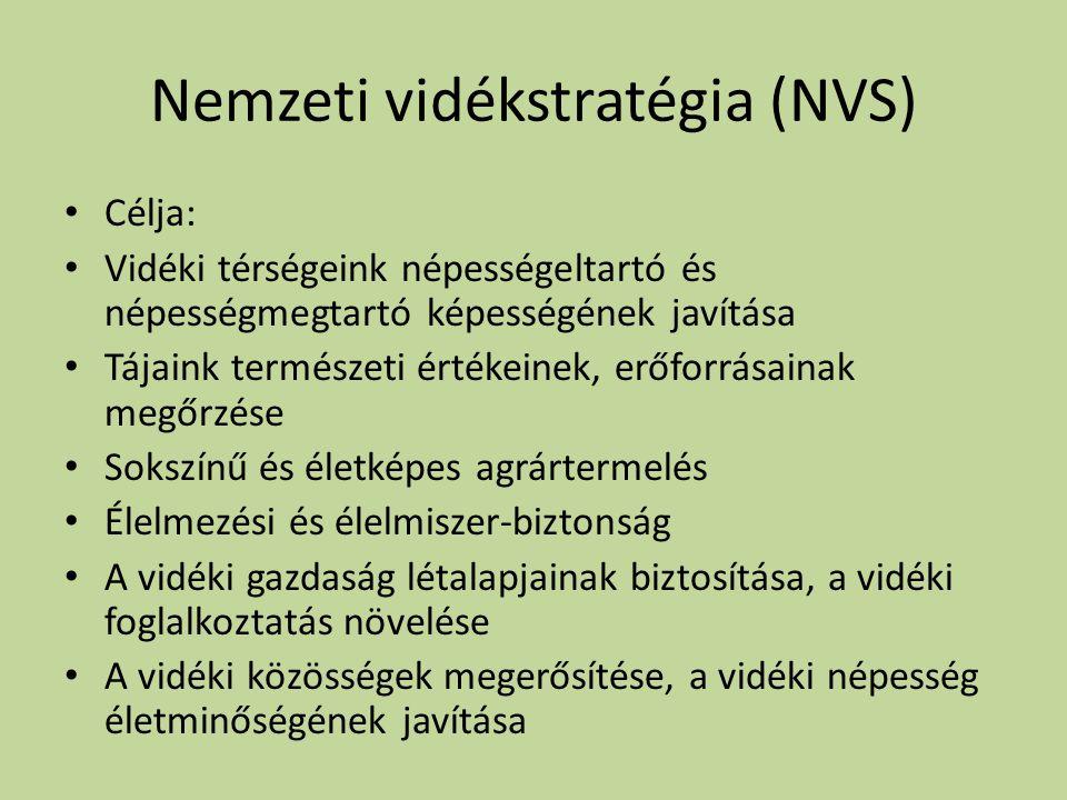 Nemzeti vidékstratégia (NVS) • Célja: • Vidéki térségeink népességeltartó és népességmegtartó képességének javítása • Tájaink természeti értékeinek, e