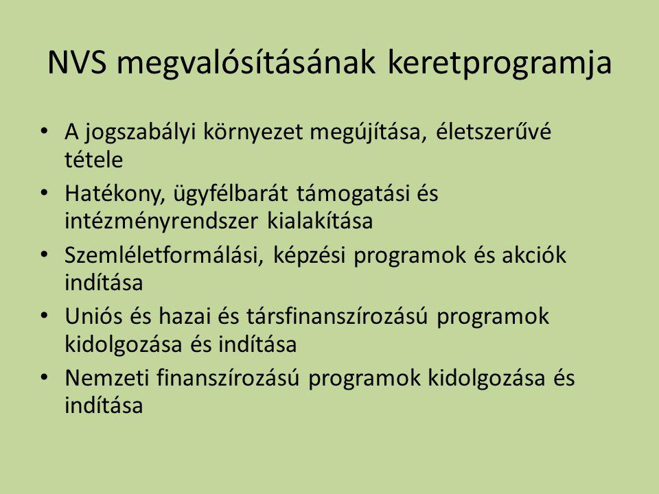 NVS megvalósításának keretprogramja • A jogszabályi környezet megújítása, életszerűvé tétele • Hatékony, ügyfélbarát támogatási és intézményrendszer kialakítása • Szemléletformálási, képzési programok és akciók indítása • Uniós és hazai és társfinanszírozású programok kidolgozása és indítása • Nemzeti finanszírozású programok kidolgozása és indítása